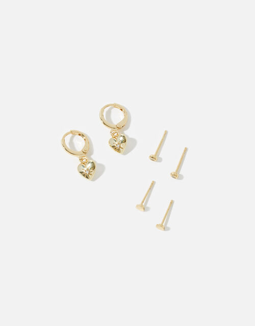 Gold-Plated Heart Earring Set , , large