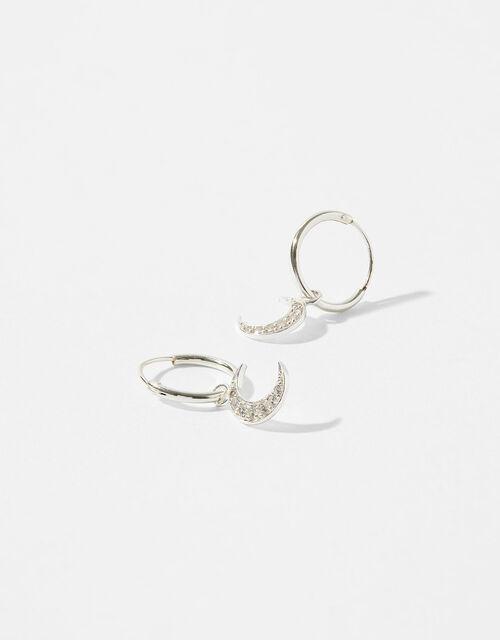 Sterling Silver Sparkle Moon Earrings, , large