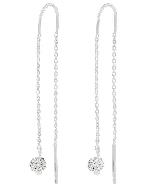 Sterling Silver Sparkle Drop Earrings, , large