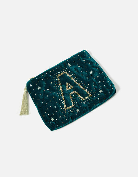 Initial Pouch Bag Teal, Teal (TEAL), large