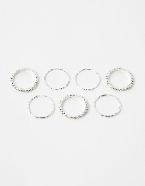 Pave Textured Stacking Ring Set, White (CRYSTAL), large