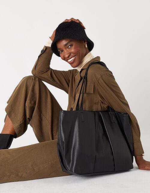 Savannah Pleated Slouch Shopper, Black (BLACK), large