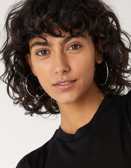 Sterling Silver Large Hoop Earrings, , large