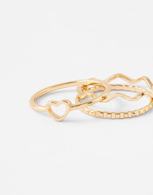 Heart Wave Ring Set, Gold (GOLD), large