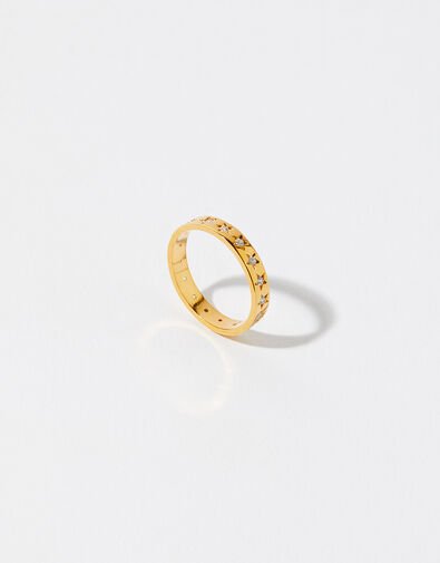 Gold-Plated Sparkle Star Band Ring Gold, Gold (GOLD), large