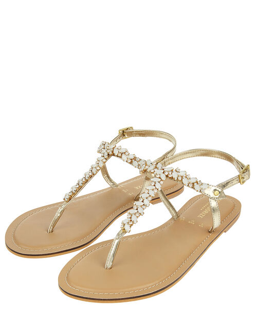 Penny Gem and Diamante Sandals, Cream (PEARL), large