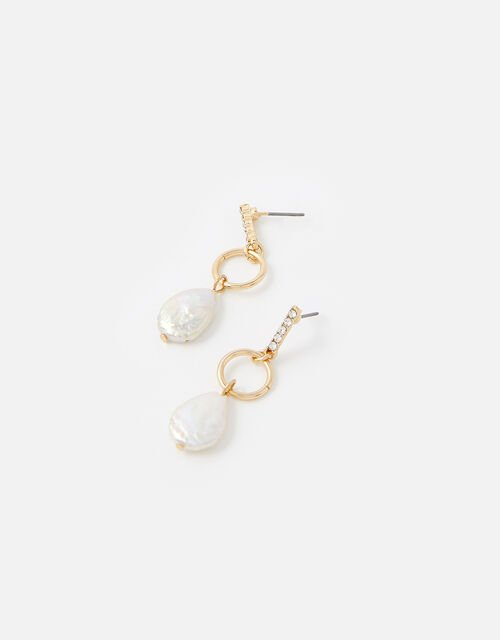 Freshwater Pearl and Pave Earrings, , large
