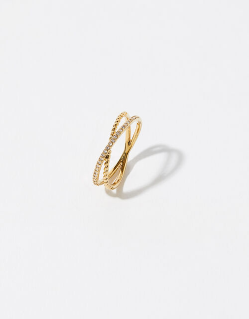 Gold-Plated Pave Cross-Over Ring, Gold (GOLD), large