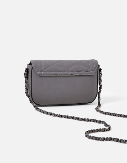 Chrissy Quilted Chain Cross-Body Bag, Grey (GREY), large