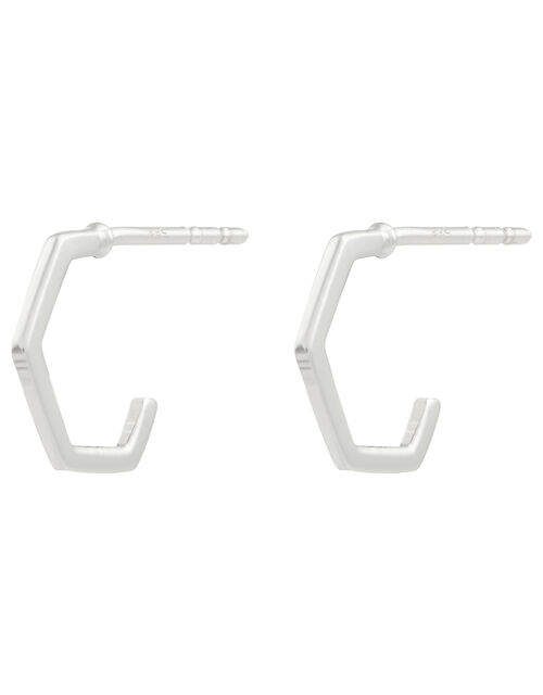 Sterling Silver Hexagon Hoop Earrings, , large
