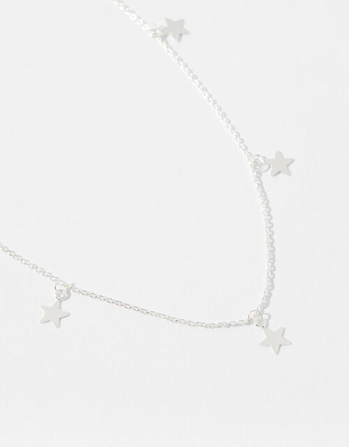 Sterling Silver Star Station Necklace, , large