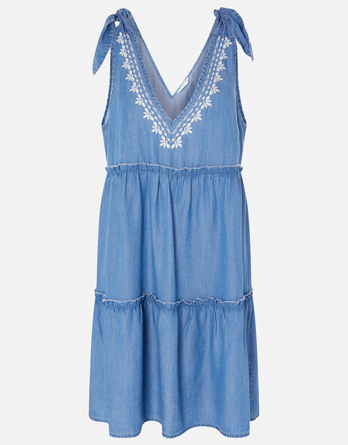 Tie Strap Embroidered Chambray Dress, Blue (BLUE), large