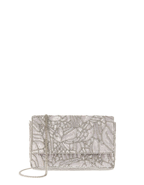 Sequin Floral Clutch Bag, Silver (SILVER), large
