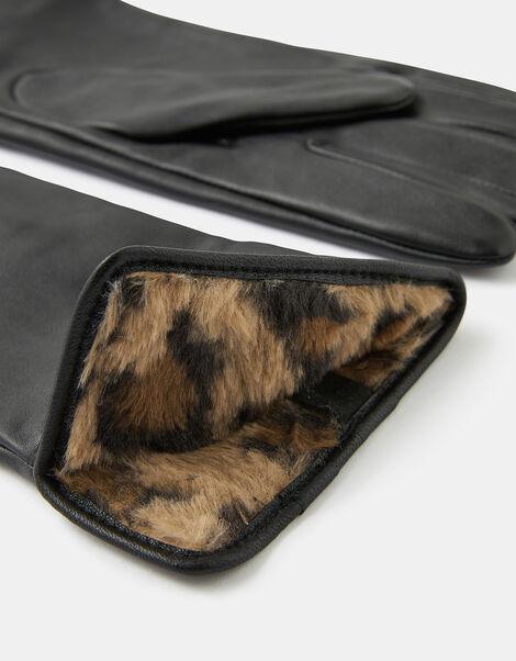 Leopard Faux Fur-Lined Leather Gloves Leopard, Leopard (LEOPARD), large