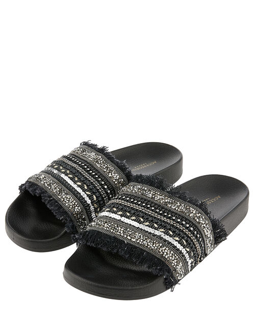Embellished Beaded Sliders, Black (BLACK), large