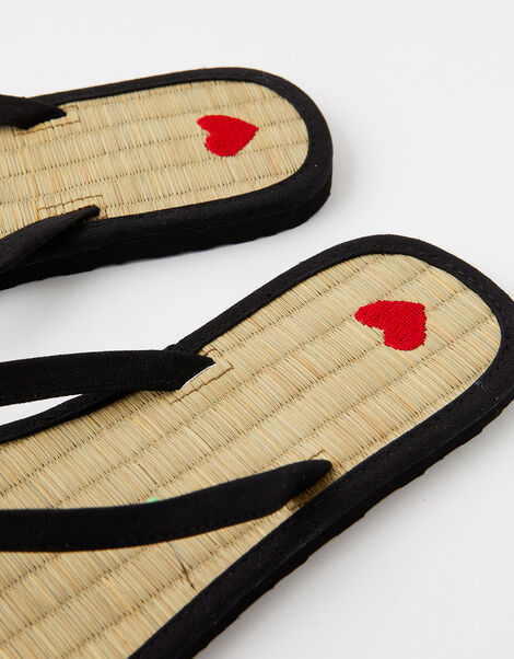 Heart Seagrass Flip Flops Black, Black (BLACK), large