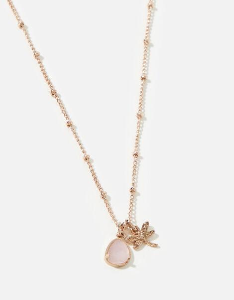 Rose-Gold Plated Dragonfly Rose Quartz Pendant Necklace, , large