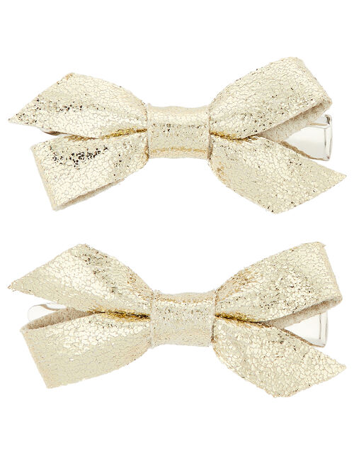 Metallic Bow Headband and Hair Clip Set, , large