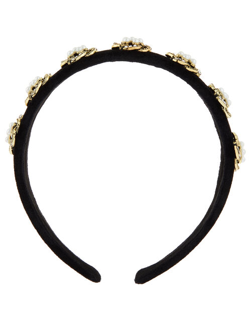 Swirly Pearl and Sparkle Velvet Headband, , large