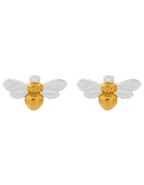 Sterling Silver Bee Stud Earrings, , large