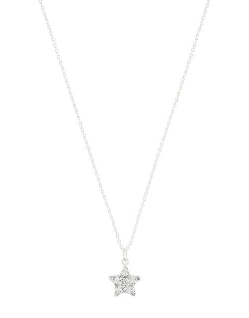 Sterling Silver Sparkle Star Necklace, , large