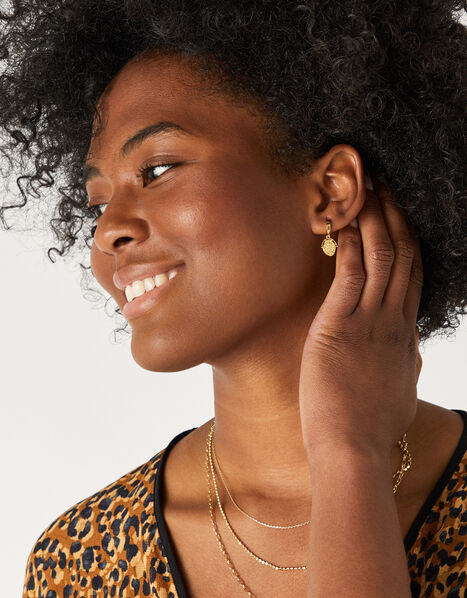 Gold-Plated Amulet Coin Earrings, , large