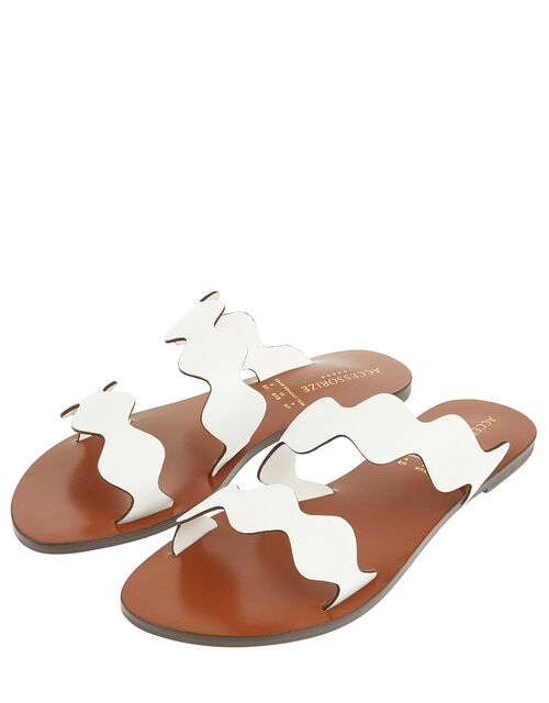 Scalloped Strap Sliders, White (WHITE), large