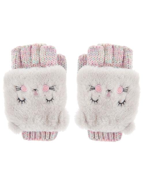 Fluffy Cat Capped Gloves, Multi (PASTEL-MULTI), large