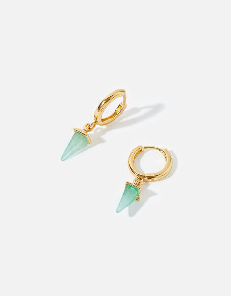 Gold-Plated Healing Stone Aventurine Hoops, , large