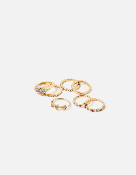 Feel Good Crystal Enamel Ring Set Multi, Multi (BRIGHTS-MULTI), large