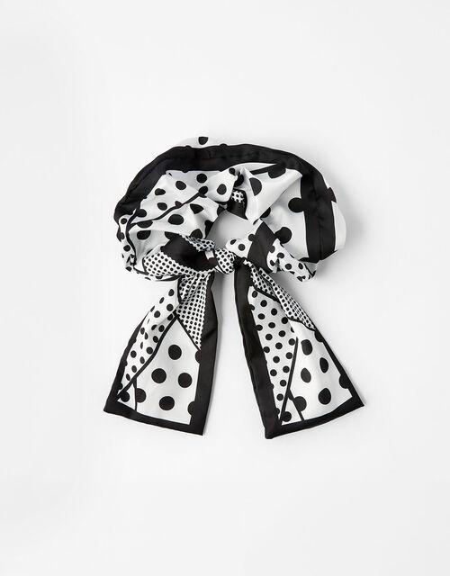 Monochrome Polka Dot Bow Scrunchie , , large