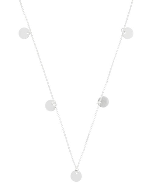 Sterling Silver Disc Station Necklace, , large