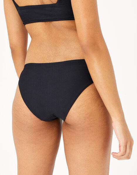 Eyelet Detail Ribbed Bikini Briefs Black, Black (BLACK), large
