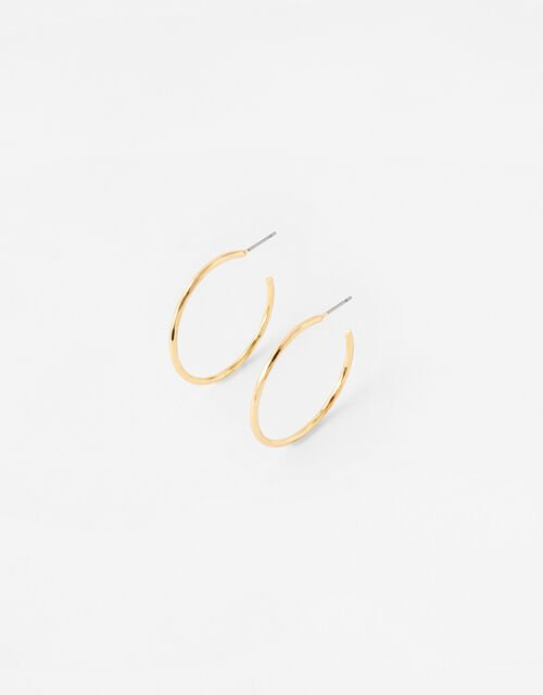 Small Facet Cut Hoops, , large