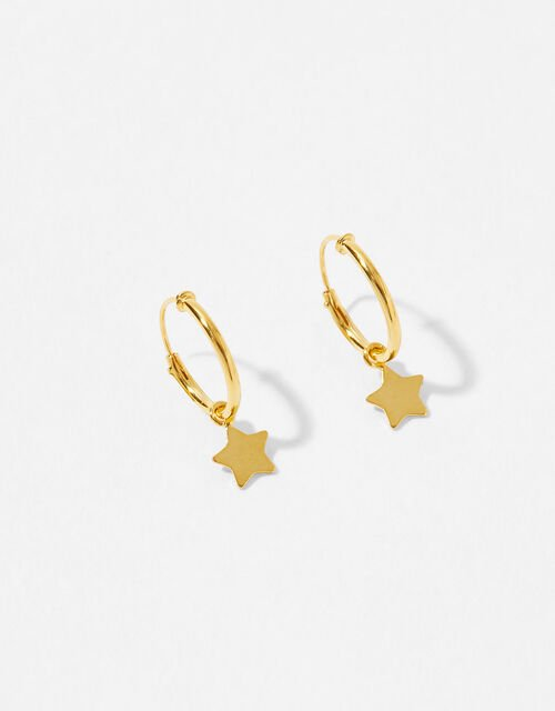 Gold-Plated Star Charm Huggie Hoops, , large