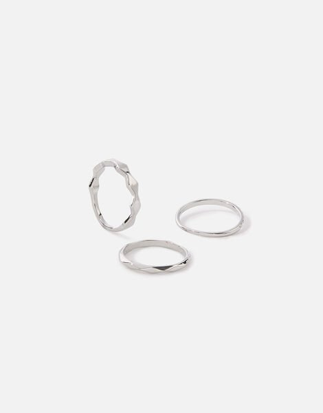 Platinum-Plated Ring Set Silver, Silver (SILVER), large