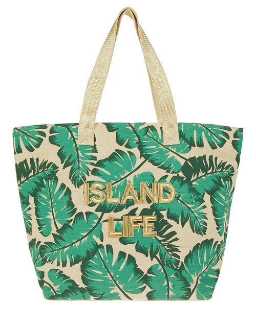 Island Life Palm Print Tote Bag, , large
