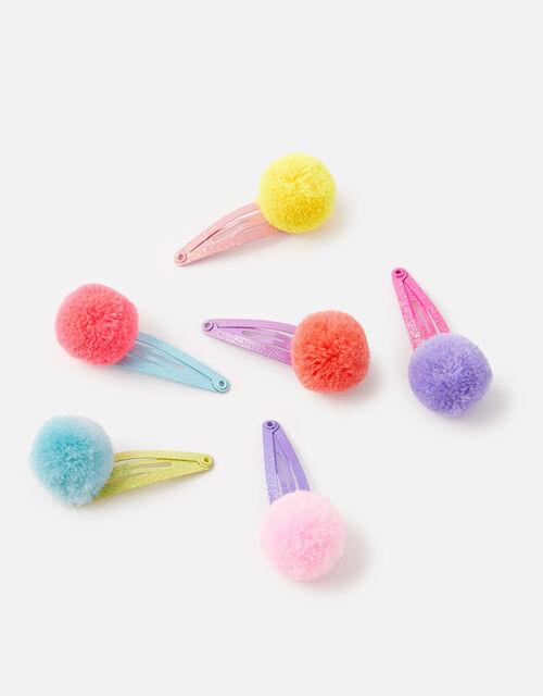 Pom-Pom Hair Clip Set, , large