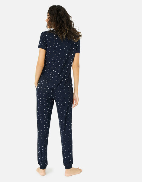 Star Print Long Pyjama Set Blue, Blue (NAVY), large