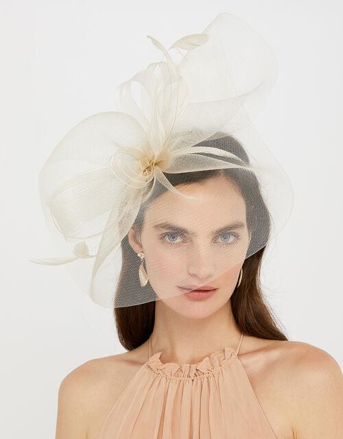 Rhea Oversized Bow Fascinator Headband, Natural (CHAMPAGNE), large