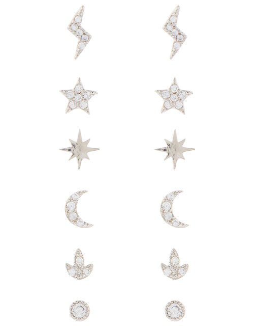 Star, Moon and Lightning Stud Earring Multipack, , large