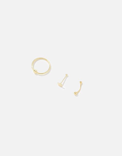 Gold-Plated Sterling Silver Star Nose Stud Set, , large