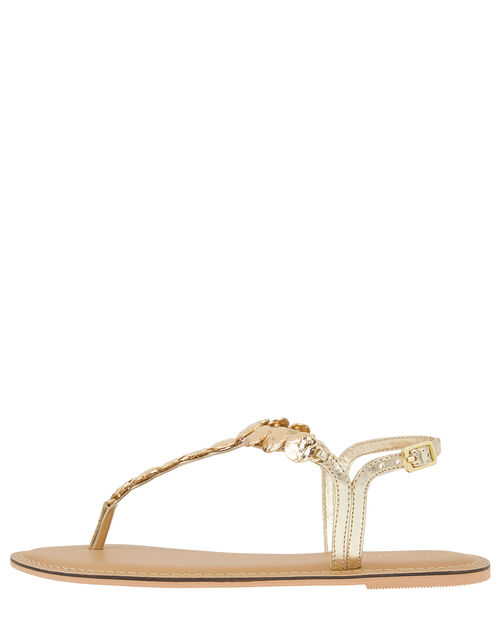 Athena Coin Metallic Sandals, Gold (GOLD), large