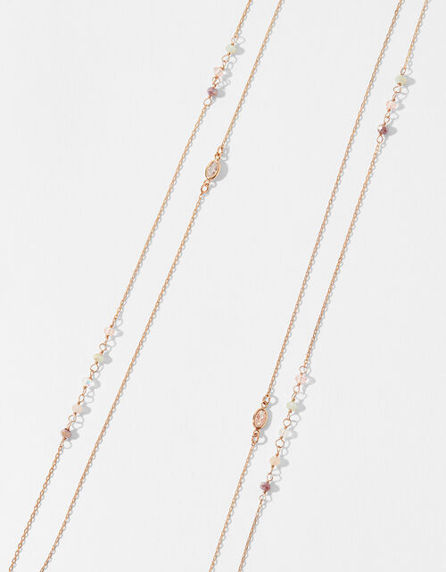 Rose Gold-Plated Sparkle Rope Necklace, , large