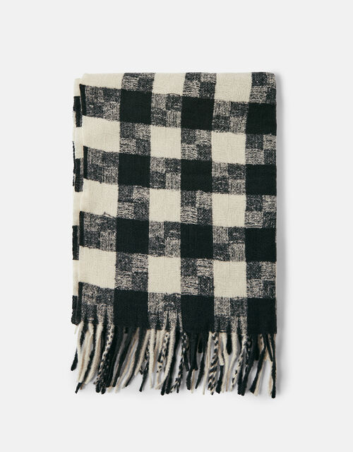 Luna Monochrome Check Blanket Scarf, , large