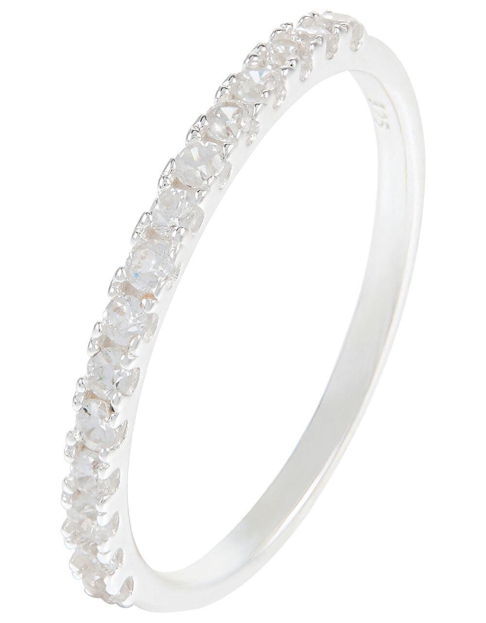 Sterling Silver Eternity Band Ring, White (ST CRYSTAL), large