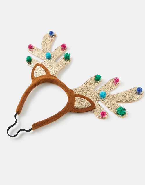 Glitter Reindeer Antlers Headband, Gold (GOLD), large