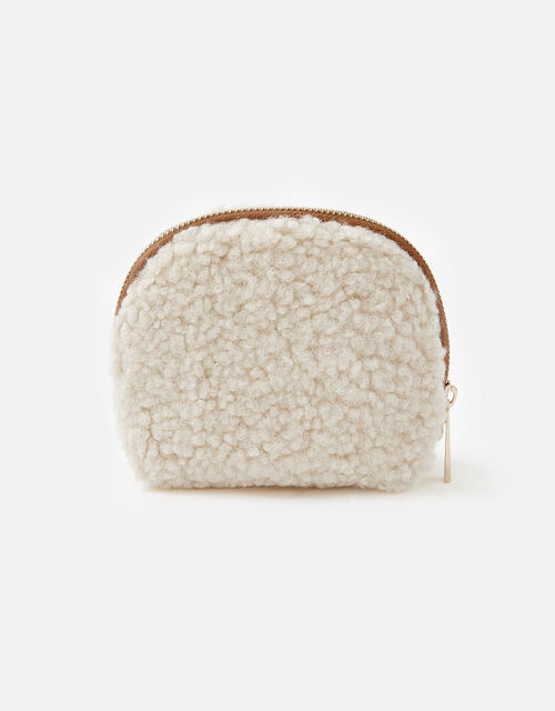 Faux Shearling Coin Purse, , large