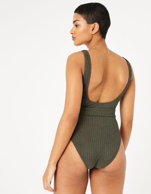 Square Neck Belted Swimsuit, Green (KHAKI), large