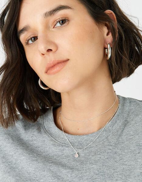 Sterling Silver Rose Quartz Pendant Necklace, , large